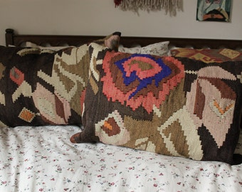 Large Turkish Woven Wool Kilim Pillow Cover
