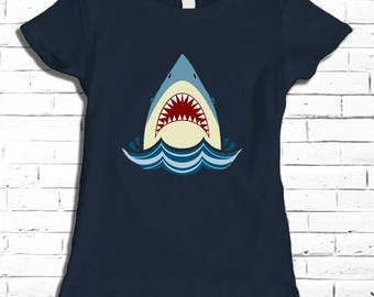 Great White Shark Women's Tee - Shark Shirt for Her - Shark Attack T-shirt - Vintage Shark Tee - Shark Jaws Shirt - Swimming Shirt