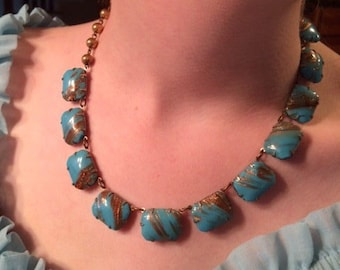 Blue and Gold Stone Swirl Neclace - Vintage