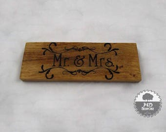 Mr and Mrs - Sign - Oak - Freestanding- wedding - top table- gift- home - shelf - mantel piece - Hand Written