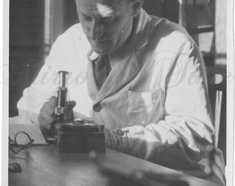 Vintage Photo - Man Photo - Man in laboratory - Microscope - Vintage Snapshot - Polish Photo - 1940s photo - Scientist photo - Vintage desk