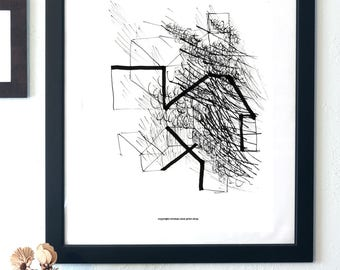 Abstract Ink Study - Contemporary Wall Art - Printable Decor - digital product - Abstract decor - B&W print