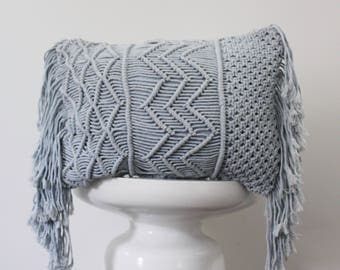 Hand Woven Macrame Indian Pillow Cover Decorative Pillow Throw Bohemian Handmade Indian Fabric Blue Cushion Cover Accent Pillow Macrame