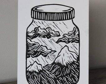 A5 Lino Print -Mason Jar Mountains Black and White