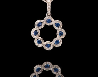 18k White gold Natural Diamonds and Blue Sapphire Round Necklace, Sapphire Pendant