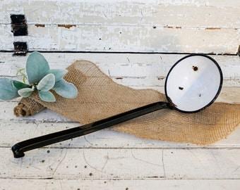 Found farmhouse kitchen vintage enamel enamelware chippy ladle