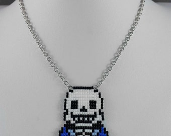 Undertale Sans Necklace - Undertale Necklace Pixel Necklace Video Game Necklace 8bit Jewelry Geeky Gifts Anime Necklace