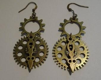 Bronze Steampunk Clockwork Earrings