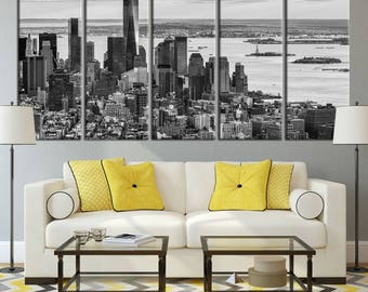Large Wall Art NEW YORK Canvas Prints - Aerial View of the Lower Manhattan at Sunset (Black and White)