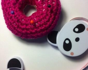 Pink Pincushion - Crochet Doughnut - Crochet Doughnut Pincushion - Doughnut Pincushion - Handmade Pincushion - Crochet Donut - Pink Donut