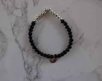 Bracelet beads Black/Silver MOON