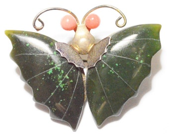 Vintage Green Jade and Coral Butterfly Gold Tone Pin