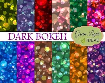 Dark Bokeh Digital Paper, Bokeh Patterns Printable, Bokeh Backdrops, Bokeh Backgrounds, Bokeh Scrapbook Papers, Digital Bokeh, Bokeh Texture