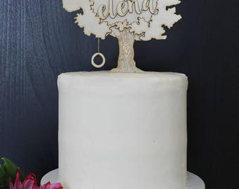 Personalized Modern Rustic Tree Carved Trunk Wedding Cake Topper | Custom Name