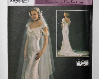 Vintage style wedding dress pattern, Misses' Wedding Gown and Veil Sewing Pattern, Simplicity Retro 4566, Size RR 14, 16, 18, 20