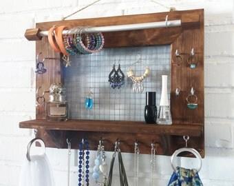 Jewelry organizer wall. Jewelry Display Jewelry holder. Jewlery Storage. Holder Necklace Earring Bracelet. Wall organize. Background dots.