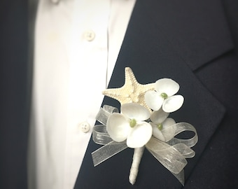 Nautical Boutonnière - Seashell Boutonnière - Starfish Boutonnière - Beach Boutonnière - Nautical Wedding - Summer Wedding Boutonnière
