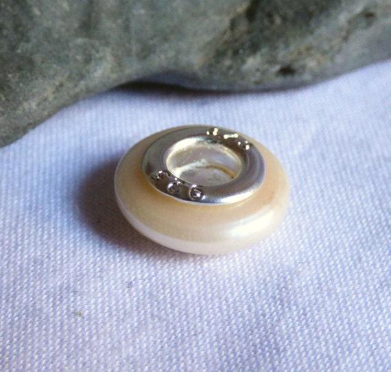 Pearl Charm Bead, Freshwater Pearl, Pearl Beads, Large Hole Pearl, Large Hole Bead, Pearl Jewelry, Jewellery Pearls, Bracelet Bead - CD17018