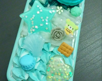 3 shades of green decoden sweets cover for iPhone 6/6S
