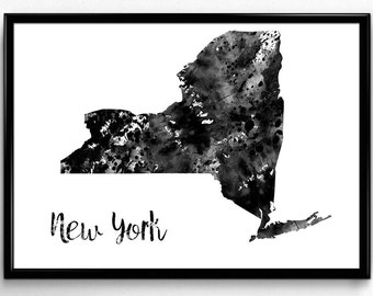 Map of New York, United States of America, Black and White Map, Travel, Watercolor, Room Decor, Poster, gift, Print, Wall Art (765)