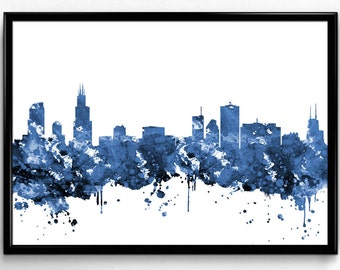 Chicago Skyline, Travel, City Skyline, Poster,  Room Decor, Print, Wall Art, gift (809)