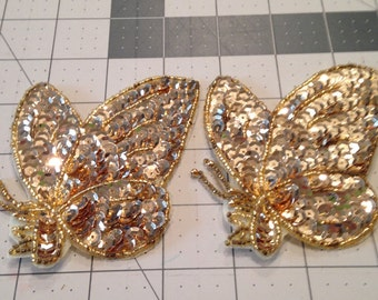 Vintage Sequin Applique Gold Butterflies and Small Bow, Sewing