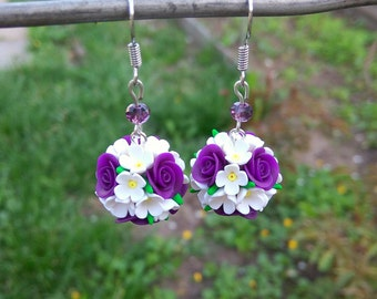Purple gift women jewelry gift for mom Summer gift Purple white flower Round earrings Dangle earrings Ethnic earrings Summer earrings Violet