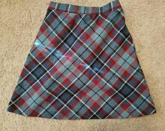 Vintage, 1980s Russ Girl Wool Plaid Skirt,Size 6X Vintage Plaid Skirt,Vintage Wool Skirt,Vintage School Uniform Skirt, Children's Wool Skirt
