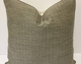 Black and Cream Chevron Tweed Designer Pillow