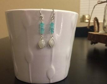 Aqua jade and moonstone earrings/moonstone dangle earrings/aqua jade bar and moonstone bezel earrings