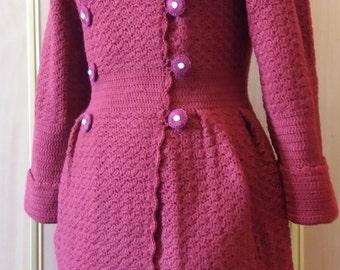 Crochet Woman Cardigan, Crochet Wool Coat, Wool Jacket , Crochet Cardigan, Knitted Jacket
