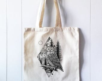 Tote Cotton Bag, Canvas Shopper, Shopping bag,  Print Owl