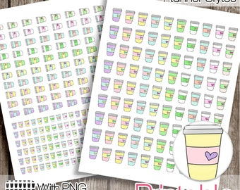 Hand Drawn Coffee Cups PRINTABLE Planner Stickers  Instant Digital Download