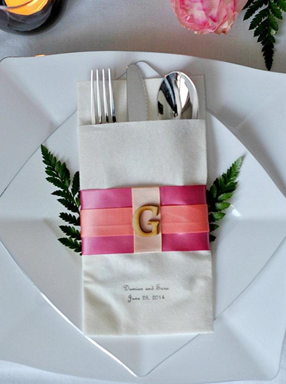 Tricolor Monogrammed Linen-Like Wedding Napkin