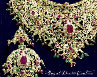 RDC Hyderabadi Nizam Jewelry Pearl Rubies Necklace & Earrings