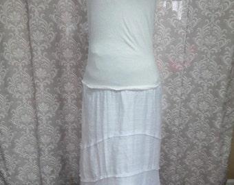 White upcycled boho hippie wedding dress, Simple White Upcycled Wedding Dress, White Sleeveless Dress, Eco Friendly Dress