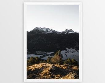Mountain Print Landscape Art Nature Photography Instant Download Mountain Wall Art Mountain Art Scandinavian Print Vertical Wall Art Alps