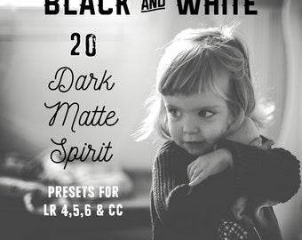 NEW Pack 20 Presets Lightroom B & W Dark Matte Spirit
