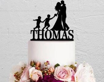 Wedding Cake Topper,Custom Cake Topper,Couple Cake Topper,Two Boys Cake Topper,Family Cake Topper,Bride and Groom Cake Topper