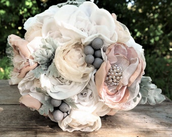 Romantic Fabric Flower Bouquet, Brooch Bouquet, Fabric Flowers, Bridal Bouquet in blush and off-white, keepsake, alternative bouquet