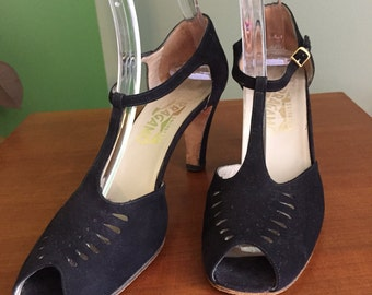 70's Does 40's Salvatore Ferregamo Black Suede T-Strap Mary Janes with Vamp Cutouts