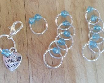 Stitch marker Set Silver/Aqua Blue