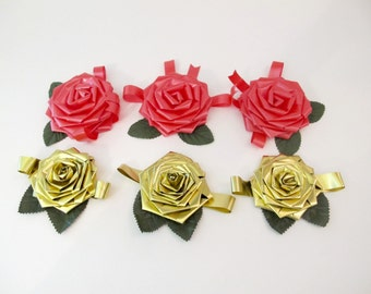 Vintage Rose Bows, Gift Toppers Ribbon Roses, Valentines Gift Bows