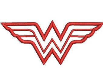 6 sizes - Wonder Woman Applique Design, Wonder Woman Embroidery Design, Machine Embroidery, Wonder Woman Logo Pattern, Instant Download