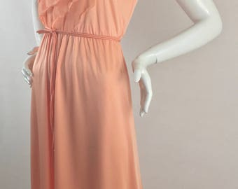 Vintage Peach A-line Dress with Sheer Ruffles on Bodice and Sleeve/Size 6-8