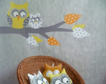 """""""Owls on branch"""" wall sticker yellow"""
