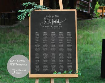 Wedding Seating Chart Template, Seating Chart Printable, Seating Board, Printable File, Editable PDF, Instant Download Chalkboard #SPP013cse