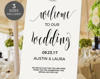 Welcome to Our Wedding Sign, Wedding Sign, Welcome Wedding Printable, DIY, Template, PDF Instant Download