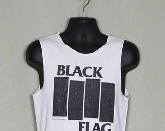 Black Flag vintage and rare T-shirt, white tee, 1985, Henry Rollins, punk rock, sleeveless