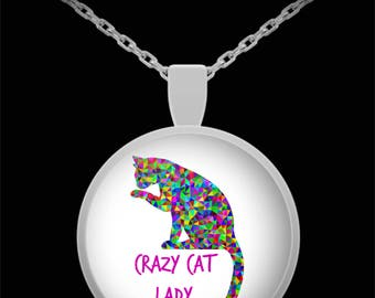 Crazy Cat Lady Necklace - Cat & Animal Lover Jewelry From Abstract Animal Art - Fun Mother's Day or Birthday Gifts for Women - 22 in Chain